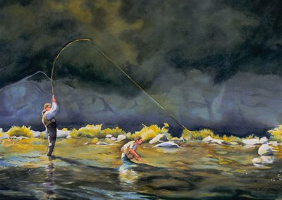 Brothers Flyfishing Watercolor by Deb Van Poolen