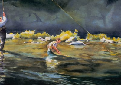 Brothers Fly Fishing Watercolor