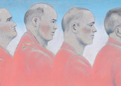 Defense Attorneys Thomas Hurley, Joshua Tooman, David Coombs with Private Chelsea Manning