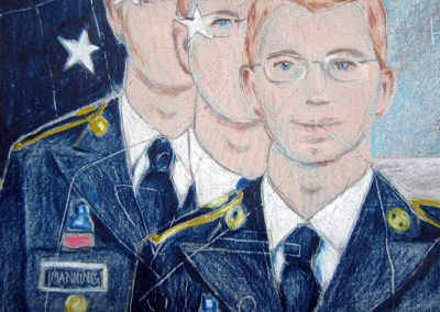 Drawings of Private Manning from photographs before trial begins.